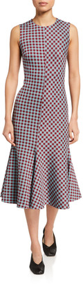 Rosetta Getty Checked Fluted Dress