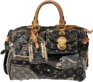 Louis Vuitton Black Monogram Denim Limited Edition Patchwork Speedy Bag