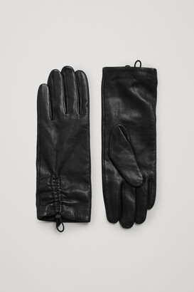 Cos Ruched Leather Gloves
