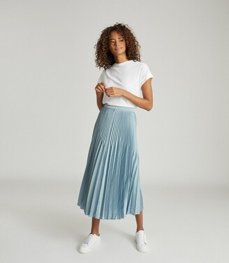 Reiss Diana - Embellished Pleated Midi Skirt in Blue