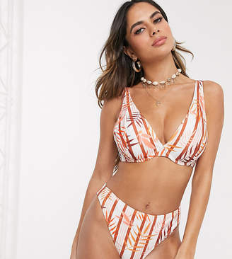 Peek & Beau Fuller Bust Exclusive recycled polyester underwired bikini top in tropical stripe DD-G-White
