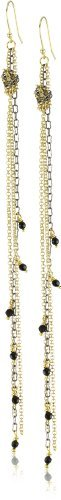 "Karen London ""Knot"" Black Onyx Tres Long Multi Color Chain Earrings"