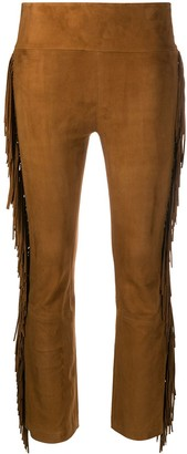 Sprwmn Fringed Sides Cropped Trousers