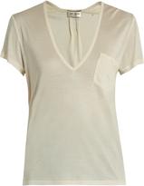 Saint Laurent Plunging silk-jersey T-shirt
