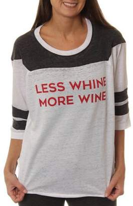 Online Women's Less Whine More Wine Graphic Football T-Shirt