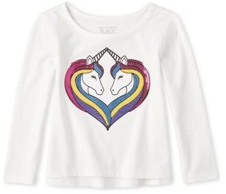 The Children's Place Baby Girls & Toddler Girls Long Sleeve Sequin Unicorn Heart T-Shirt (12M-5T)