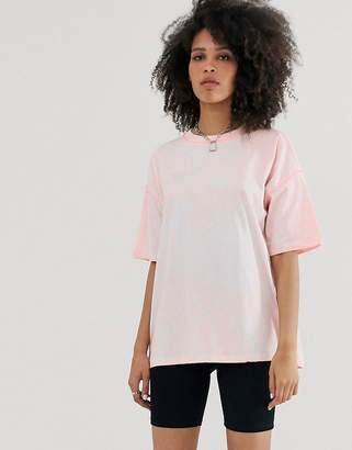 Asos Design DESIGN oversized t-shirt in acid wash with contrast stitching-Pink