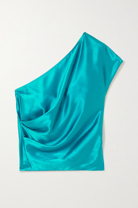 Mason by Michelle Mason One-shoulder Draped Silk-charmeuse Top - Turquoise