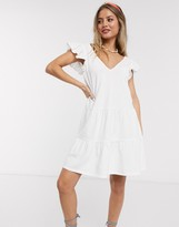 Asos Design DESIGN v neck frill sleeve tiered smock dress in white