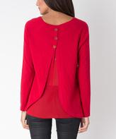 Yuka Paris Red Embellished Split-Back Sweater