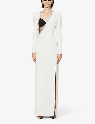 David Koma Asymmetric-neck jewel-embellished crepe gown