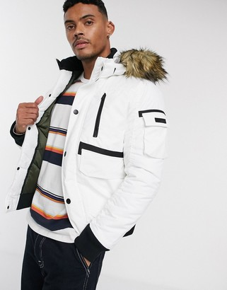Jack and Jones Core short parka with faux fur hood-White