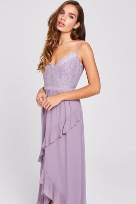 Little Mistress Paige Lavender Lace And Frill Maxi Dress