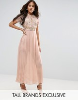 Frock And Frill Tall Premium Embellished Top Maxi Dress With Pleated Skirt