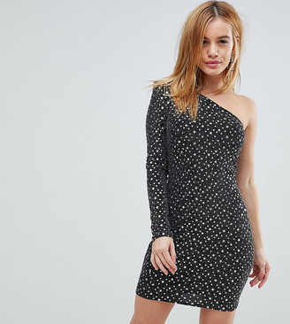 Flounce London Petite One Shoulder Metallic Dress