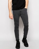 Pull&bear Super Skinny Jeans In Grey With Knee Detail