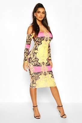 boohoo Chain Print Off The Shoulder Midi Dress