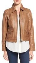 Bernardo Women's Flap Pocket Leather Trucker Jacket