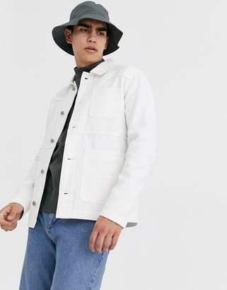 Asos Design DESIGN worker denim jacket in ecru-Cream