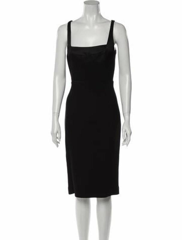 Narciso Rodriguez Square Neckline Midi Length Dress w/ Tags Black