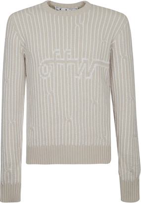 Off-White Cabled Crewneck Sweater