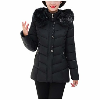 waitFOR Winter Women Long Sleeve Long Overcoat Plus Size Solid Color Thermal Padded Coat with Pockets Ladies Thick Faux Fur Hood Zipper Outerwear Gift for Mother Trench Coat Cardigan Black