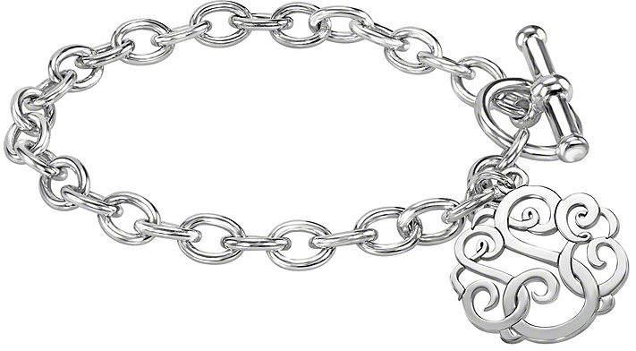 JCPenney FINE JEWELRY Personalized Sterling Silver 20mm Monogram Script Charm Bracelet