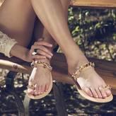 Iris Handmade Embellished Toe Ring Leather Sandals