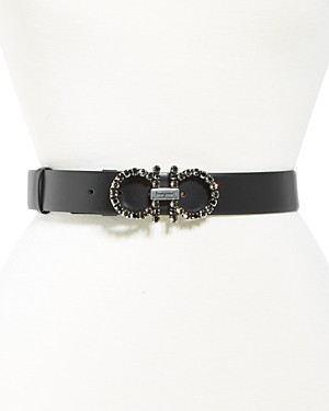Salvatore Ferragamo Women's Embellished Double Gancini Buckle Leather Belt