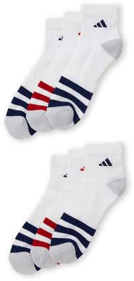 adidas 3-Pack Stripe Cushioned Quarter Socks