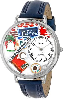 Whimsical Watches Coffee Lover Navy Blue Leather and Silvertone Unisex Quartz Watch with White Dial Analogue Display and Multicolour Leather Strap U-0310006