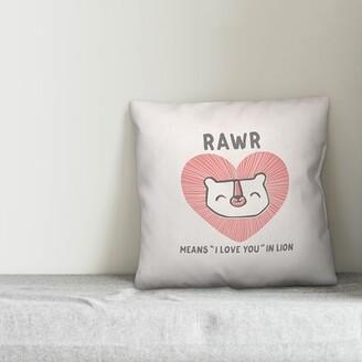 "Zoomie Kids Claytor I Love You Lion Throw Pillow Size: 20""H x 20""W"