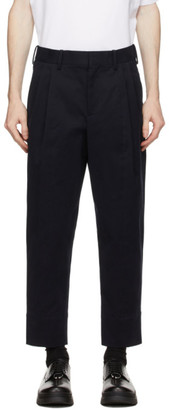 Neil Barrett Navy 2 Pleats Tapered Trousers