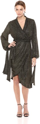 C/Meo Women's Alight Sparkle Knit Draped Wrap Dress
