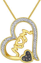 JCPenney FINE JEWELRY 1/10 CT. T.W. White and Color-Enhanced Champagne Diamond Mom Heart Pendant