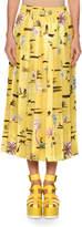 Agnona Tropical Twill Pleated Skirt