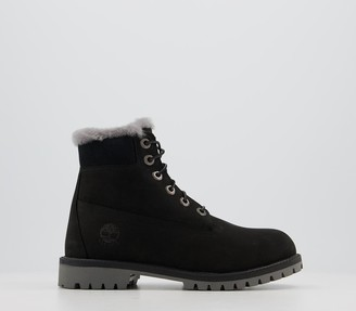 Timberland 6 Inch Fur Lined Junior Boots Black