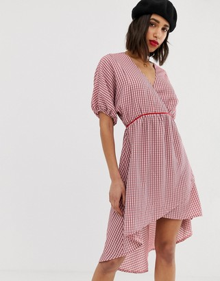 Lost Ink v neck dress with kimono sleeves in check