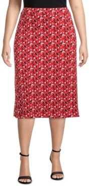 Kasper Plus Printed Midi Skirt