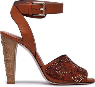 Red(V) Embellished Leather Sandals