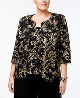 Alex Evenings Plus Size Scroll-Print Jacket & Shell