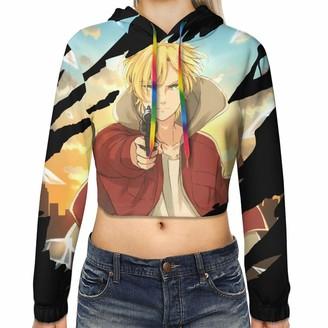 Gintamade Womens Crop Top Sweatshirts Banana Fish Ash Lynx Pullover Hooded Outwear Black