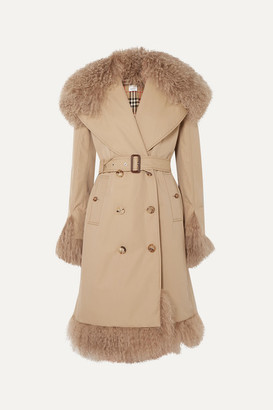 Burberry Double-breasted Shearling-trimmed Cotton-gabardine Coat - Beige