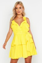 Thumbnail for your product : boohoo Plus Ruffle Tie Waist Skater Dress