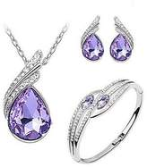 XIEXIE Jewelry Set Elegant Crystal Pendant Necklace Earring Bracelet Gift , one