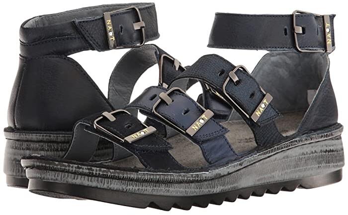 Naot Footwear Begonia (Blue Velvet Suede/Black Nubuck/Navy Reptile Leather/Ink Leather) Women's Sandals