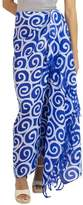 Artisan Crafted Thai Silk Batik Sarong in Blue, 'Blueberry Spiral'