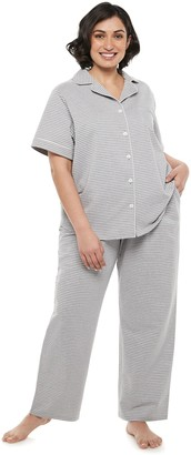 Croft & Barrow Plus Size Short Sleeve Notch Collar Pajama Set