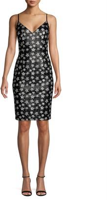 Black Halo Embellished Sheath Dress
