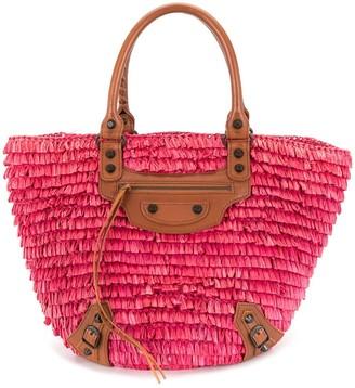 Balenciaga Pre Owned Raffia Basket Handbag